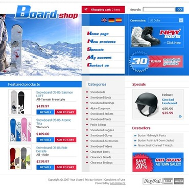 Snowboarding OsCommerce Template