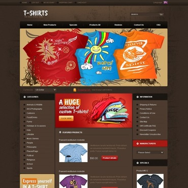T-shirt Shop ZenCart Template