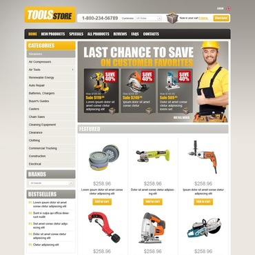 Tools & Equipment ZenCart Template