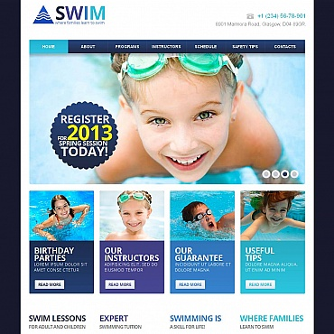 Swimming Moto CMS HTML Template