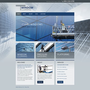 Window Cleaning Responsive Website Template #45319