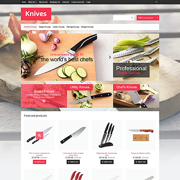 Knives that Cut OpenCart Template #46855