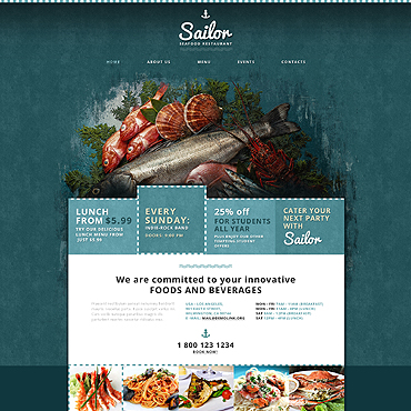 Seafood Restaurant Responsive Website Template