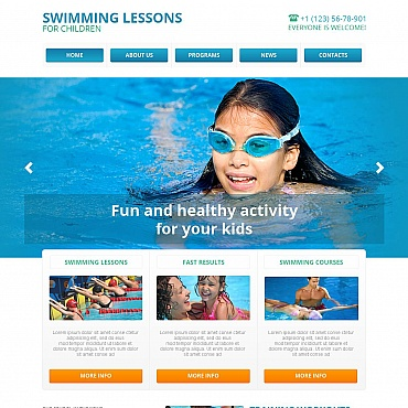 Swimming School Moto CMS HTML Template
