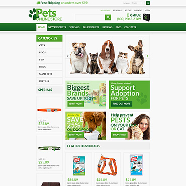 Pet Shop ZenCart Template